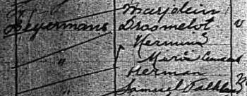 Marjolein Droomelot en Herman Samuel Falkland (fragment gezinskaart Herman Heijermans, Stadsarchief Amsterdam)