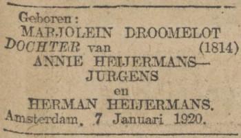 Geboorteadvertentie Marjolein Droomelot Heijermans (Algemeen Handelsblad, 8 januari 1920)