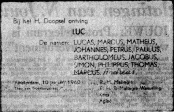 Geboortekaartje Luc Malingré