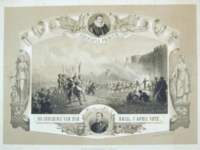 Gedenkplaat op de 300-jarige herdenking van de inname van Den Briel, 1872