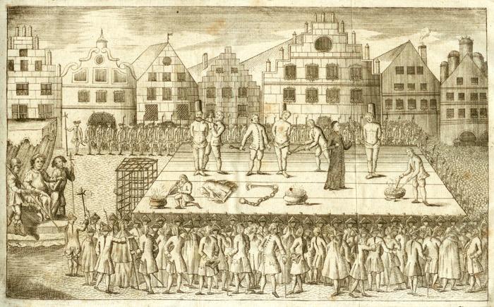 De executie van de wederdopers Jan van Leiden, Berend Krechting en Berend Knipperdolling in Münster, 1536 (Hermann Kerssenbrock, Geschichte der Wiedertäufer, 1711)