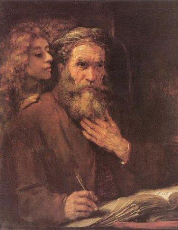 De evangelist Matteüs en de engel door Rembrandt van Rijn