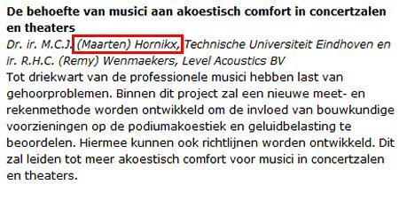 Maarten Hornikx, doet onderzoek naar gehoorschade