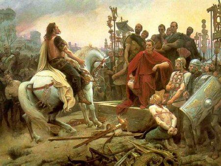 Lionel Royer: Vercingetorix gooit zijn wapens voor de voeten van Caesar (1899)