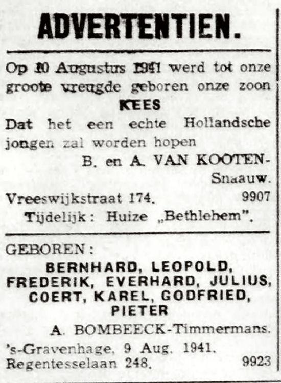 Haagsche Courant, 12 augustus 1941